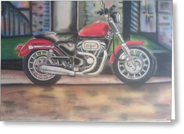 Motorcycles Pastels Greeting Cards - Kharlydavison Greeting Card by Kharl Walker