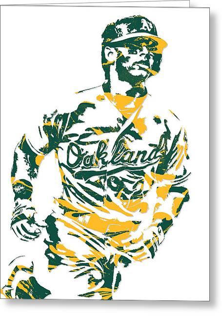 Khris Davis Oakland Athletics Pixel Art 2 Greeting Card