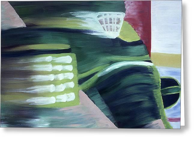Hockey Paintings Greeting Cards - Kick Save Greeting Card by Ken  Yackel