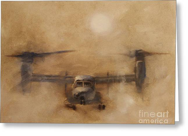 Iraq Paintings Greeting Cards - Kicking Sand Greeting Card by Stephen Roberson