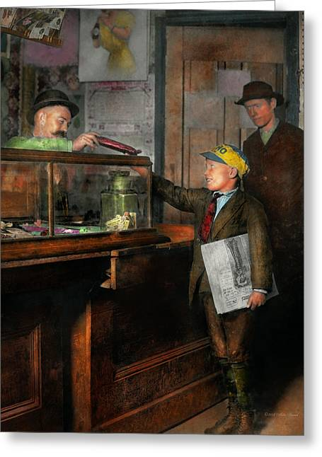 Kid - A Visit To The Candy Store 1910 Greeting Card by Mike Savad