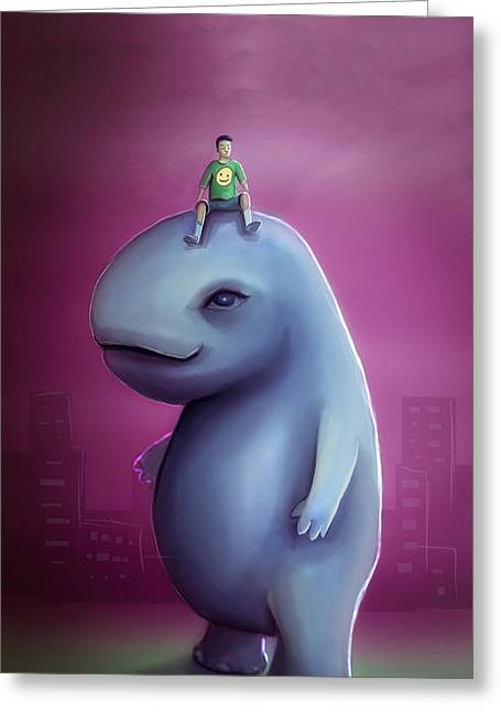 Kid Rides Giant Pet Greeting Card by Rui Barros