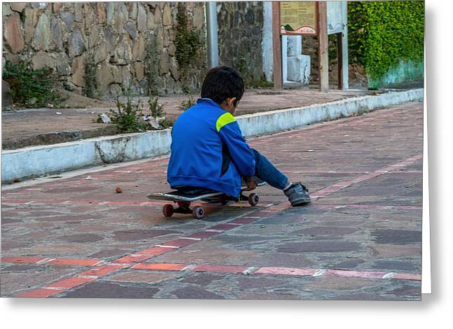 Kid Skateboarding Greeting Card by Totto Ponce