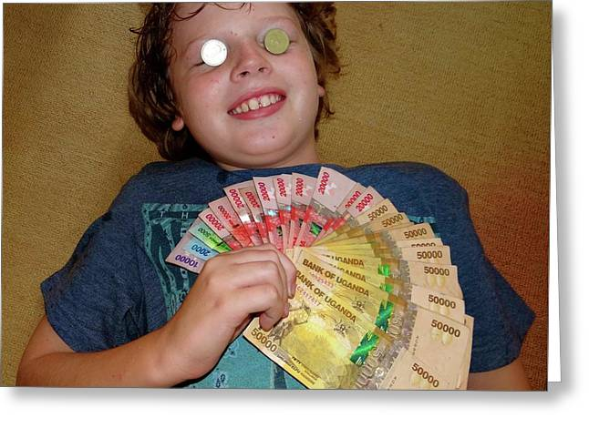 Kid With Money Greeting Card