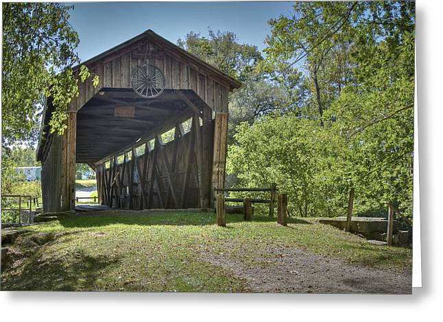 Kidd's Mill Covered Bridge Greeting Card by Jack R Perry