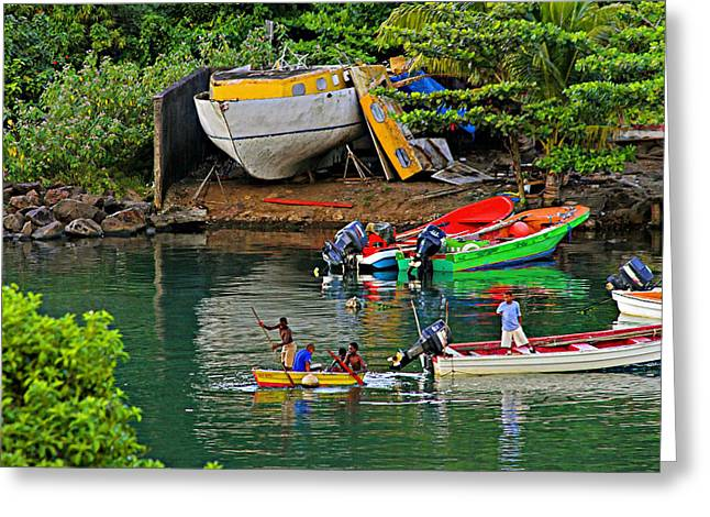 Kids At Play-st Lucia Greeting Card by Chester Williams