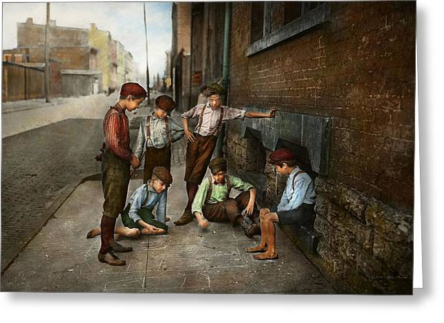 Kids - Cincinnati Oh - A Shady Game 1908 Greeting Card by Mike Savad