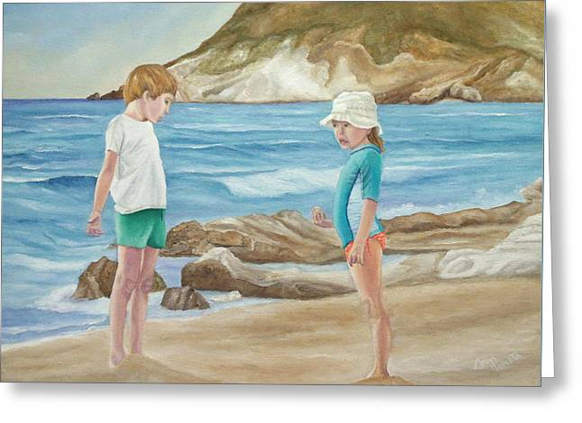Greeting Card featuring the painting Kids Collecting Marine Shells by Angeles M Pomata