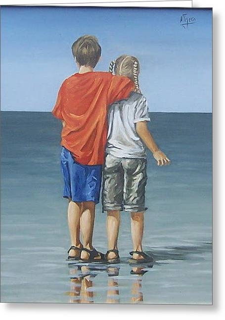 Greeting Card featuring the painting Kids by Natalia Tejera