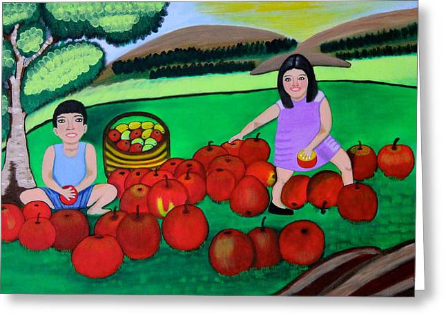Kids Playing And Picking Apples Greeting Card