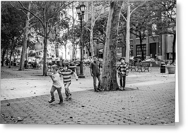 Kids Playing East Side Greeting Card