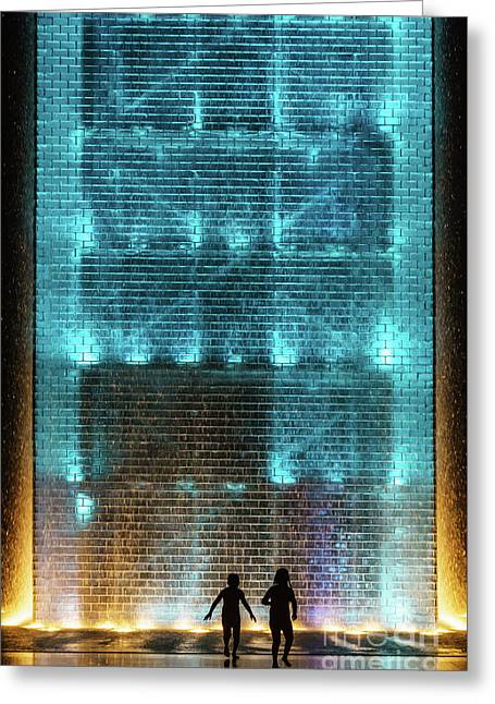 Kids Playing In The Water At Crown Fountain Chicago Greeting Card