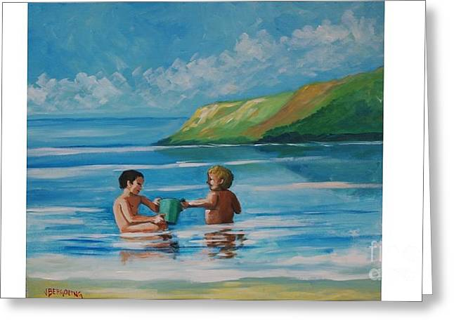 Kids Playing On The Beach Greeting Card