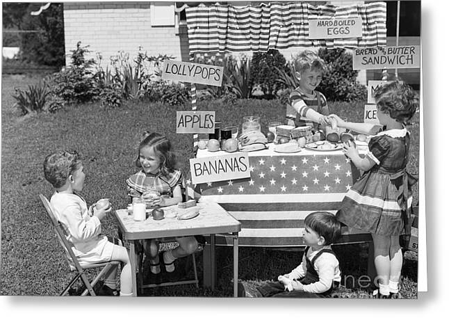 Kids Setting Up Shop, C.1950s Greeting Card