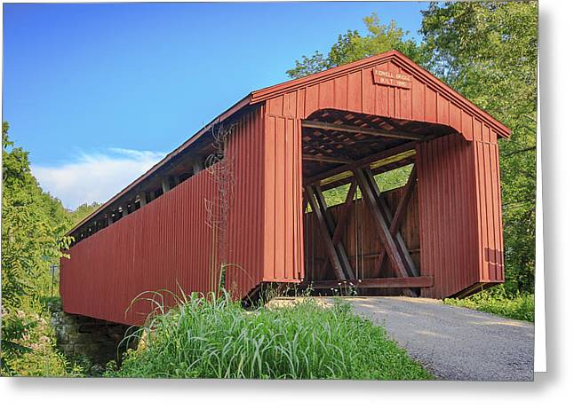 Kidwell Covered Bridge Greeting Card by Jack R Perry