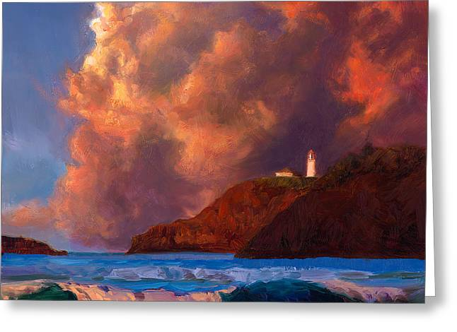 Kilauea Lighthouse - Hawaiian Cliffs Sunset Seascape And Clouds Greeting Card