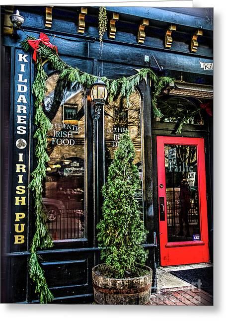 Kildares Irish Pub At Christmas Greeting Card