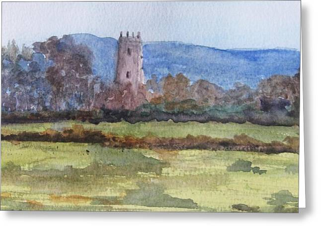 Greeting Card featuring the painting Kildownet Castle by Trilby Cole