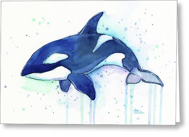 Kiler Whale Watercolor Orca  Greeting Card by Olga Shvartsur