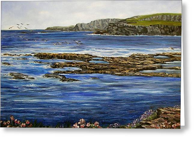 Kilkee Cliffs Ireland Oil Painting Greeting Card by Avril Brand
