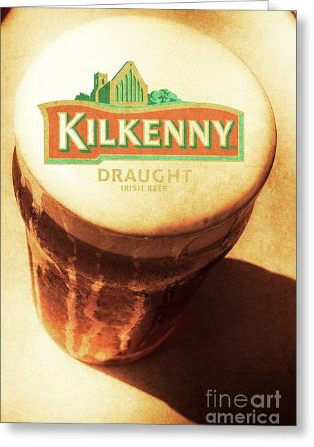 Kilkenny Draught Irish Beer Rusty Tin Sign Greeting Card by Jorgo Photography - Wall Art Gallery