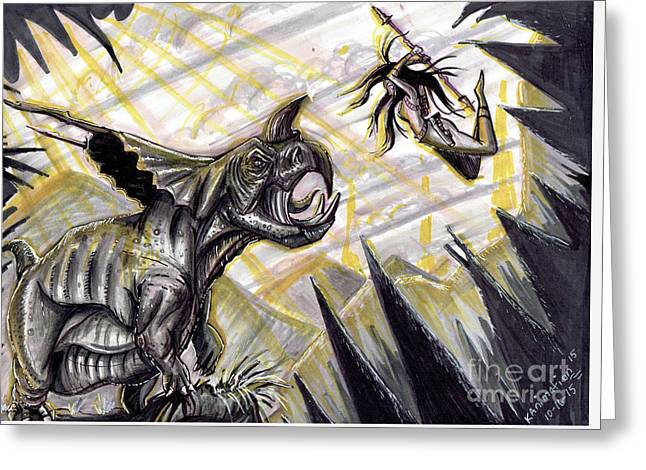 Kill The Beast Greeting Card by Keith Murrell