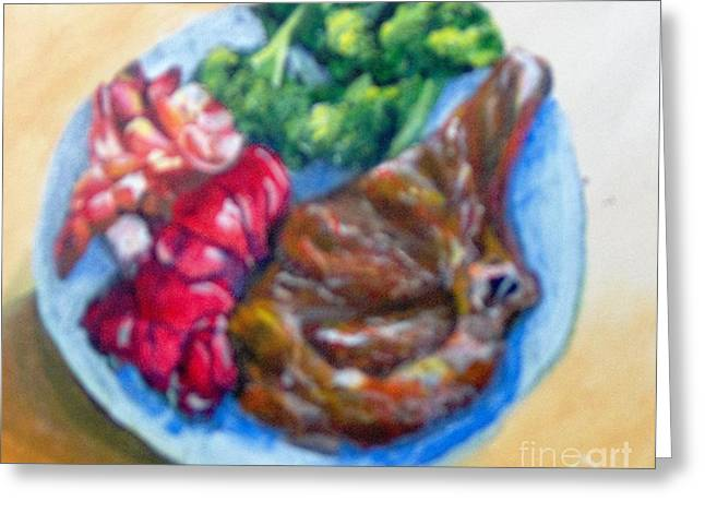 Greeting Card featuring the painting Killer Meal by Saundra Johnson