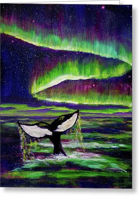 Killer Whale Tail In Aurora Borealis Greeting Card