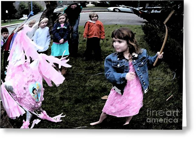 Killing The Pinata Greeting Card by JoAnn SkyWatcher