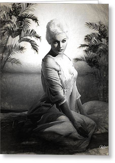 Kim Novak Sketch Greeting Card by Quim Abella