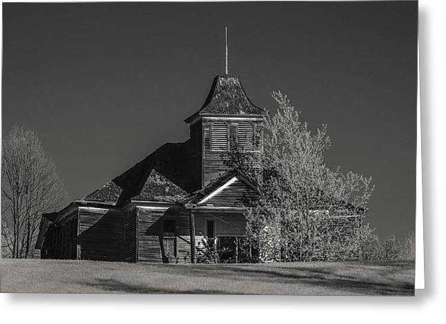 Kimberly School House Black And White Greeting Card by Paul Freidlund