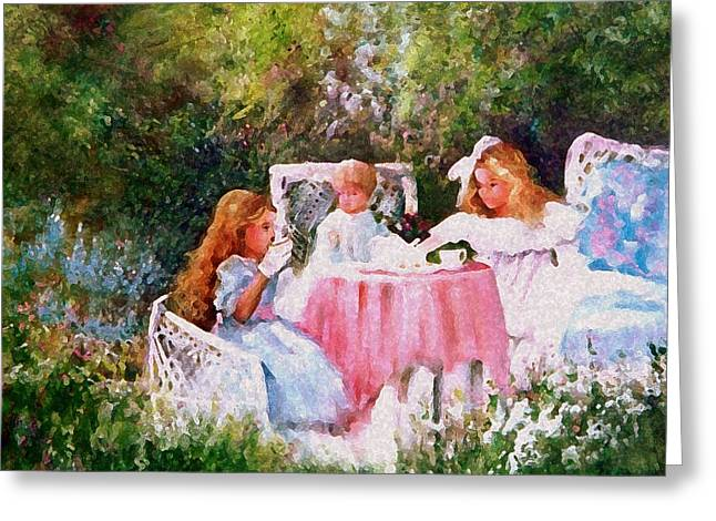 Kimber's Tea Party Greeting Card by Sally Seago