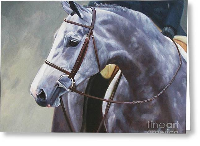 Gray Horse Greeting Cards - Kind Eye Greeting Card by Janet  Crawford