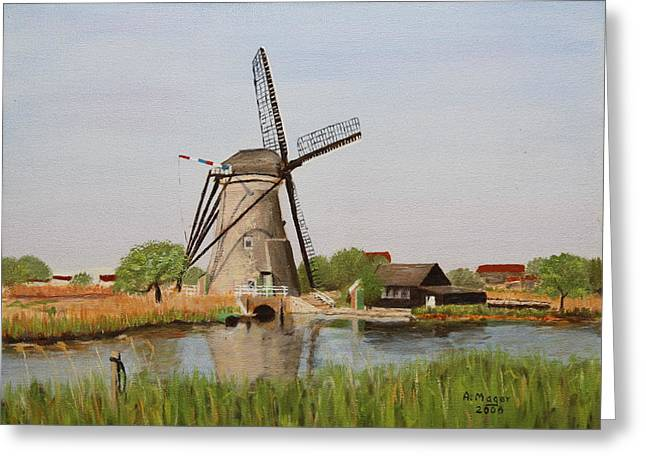 Kinderdijk Classic Greeting Card by Alan Mager
