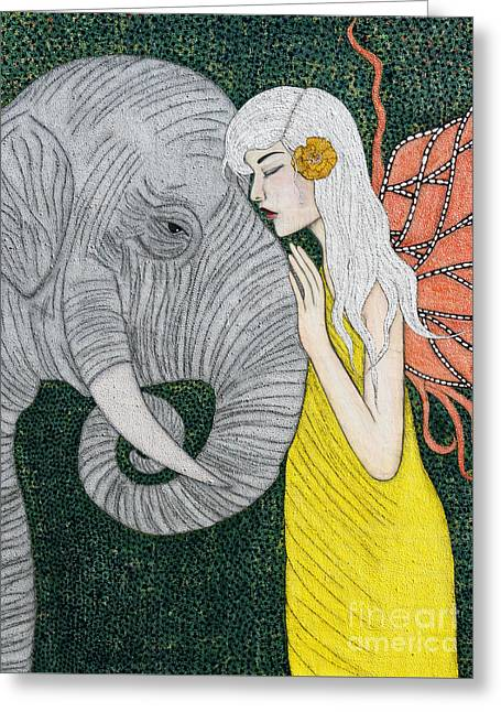 Greeting Card featuring the painting Kindred Souls by Natalie Briney