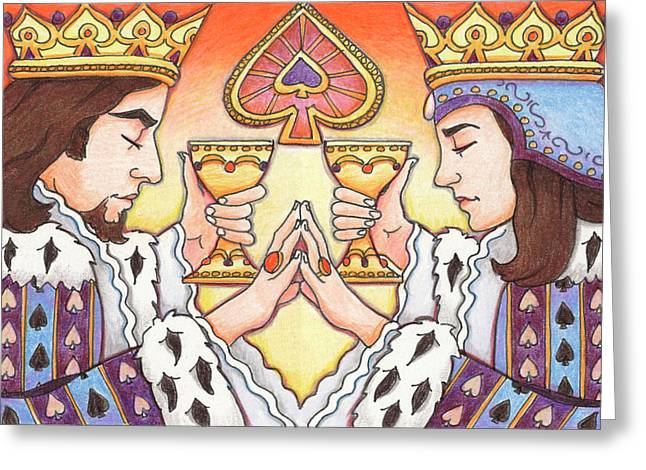 Yang Greeting Cards - King and Queen of Spades Greeting Card by Amy S Turner