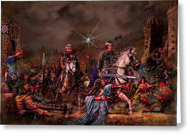 Greeting Card featuring the painting King Arthur Returns by Steve Roberts