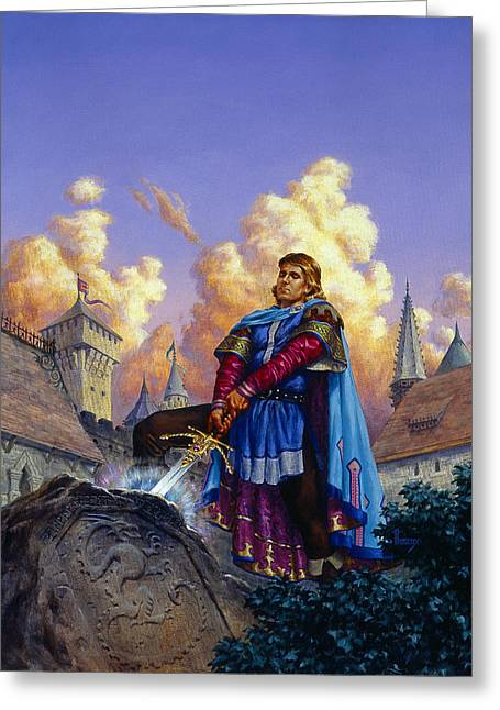 King Arthur Greeting Card by Richard Hescox