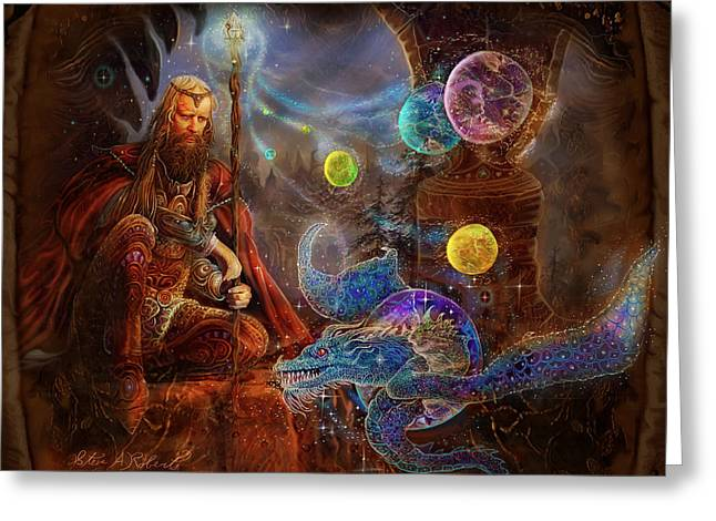 Fantasy Picture Greeting Cards - King Arthurs Merlin Greeting Card by Steve Roberts