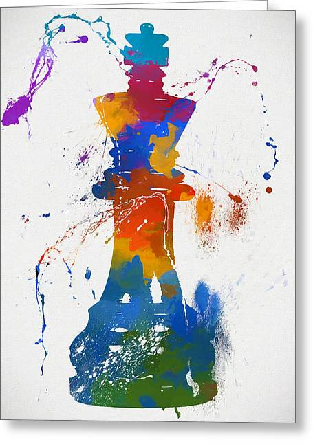 King Chess Piece Paint Splatter Greeting Card by Dan Sproul