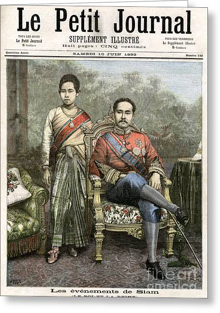 Greeting Card featuring the drawing King Chulalongkorn by Granger