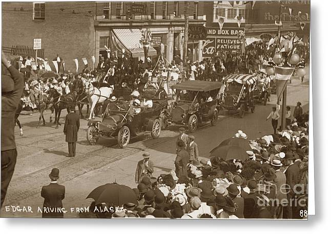 King Edgar Ariving From Alaska In Seattle Circa 1911 Greeting Card