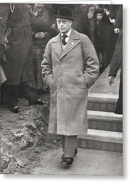 King Edward Viii Visiting South Wales Greeting Card