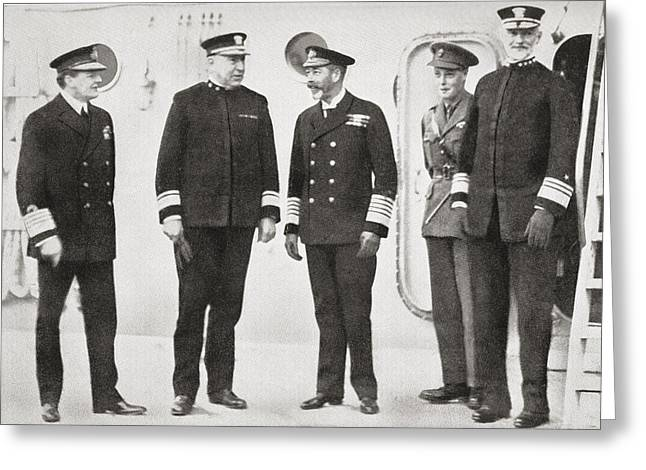 King George V Visits The Fleet At Greeting Card by Vintage Design Pics
