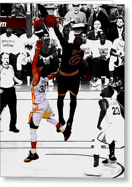 King James Blocks Steph Curry Greeting Card by Brian Reaves