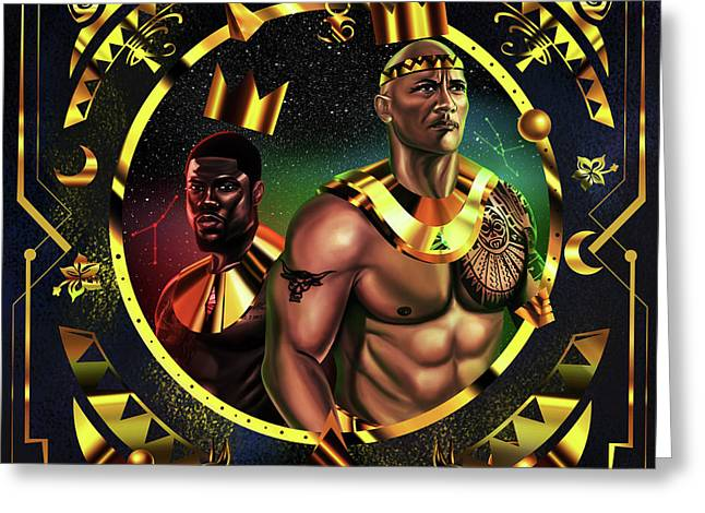 King Kevinhart And King Dwayne Johnson Greeting Card by Kenal Louis