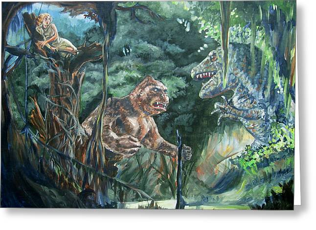 Greeting Card featuring the painting King Kong Vs T-rex by Bryan Bustard
