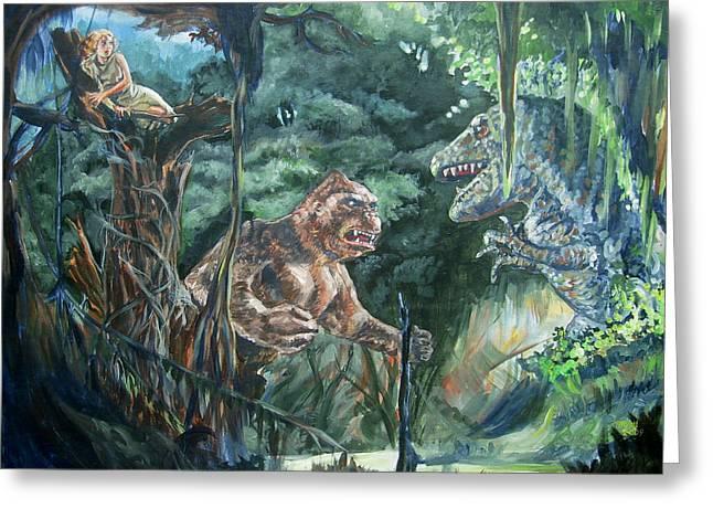 King Kong Vs T-rex Greeting Card by Bryan Bustard
