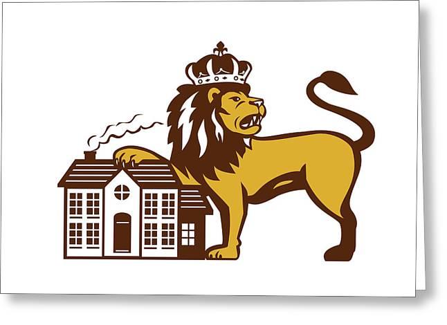 King Lion Paw On House Isolated Retro Greeting Card by Aloysius Patrimonio
