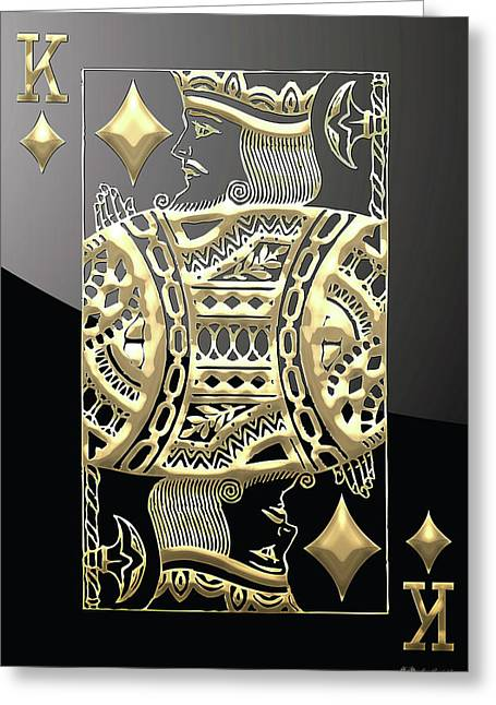 King Of Diamonds In Gold On Black  Greeting Card